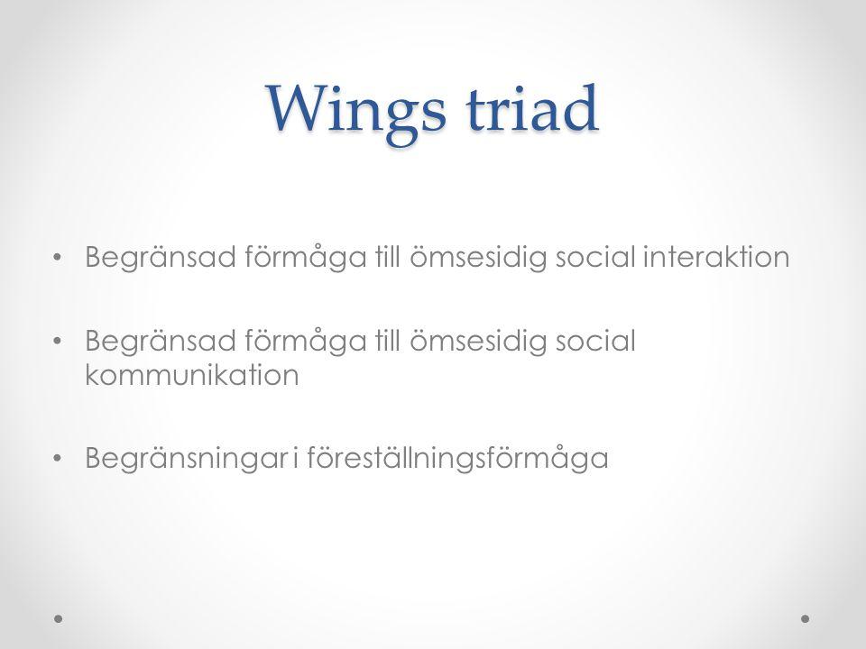 Wings triad Begränsad förmåga till ömsesidig social interaktion