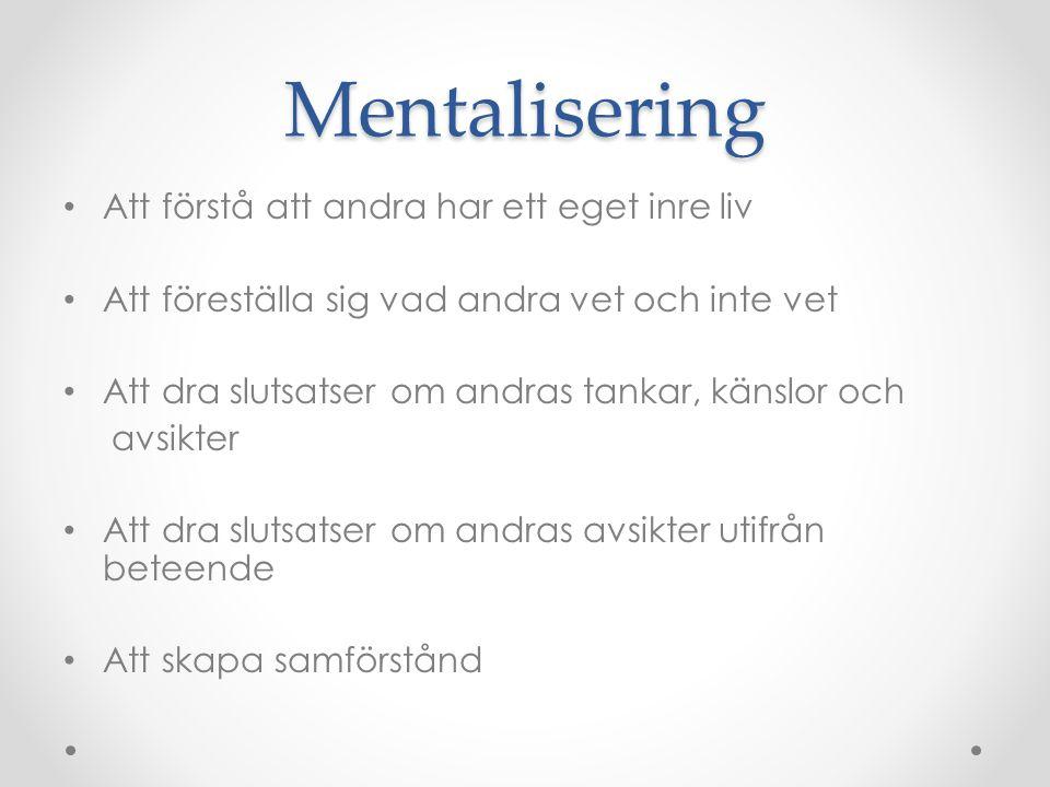 Mentalisering Att förstå att andra har ett eget inre liv
