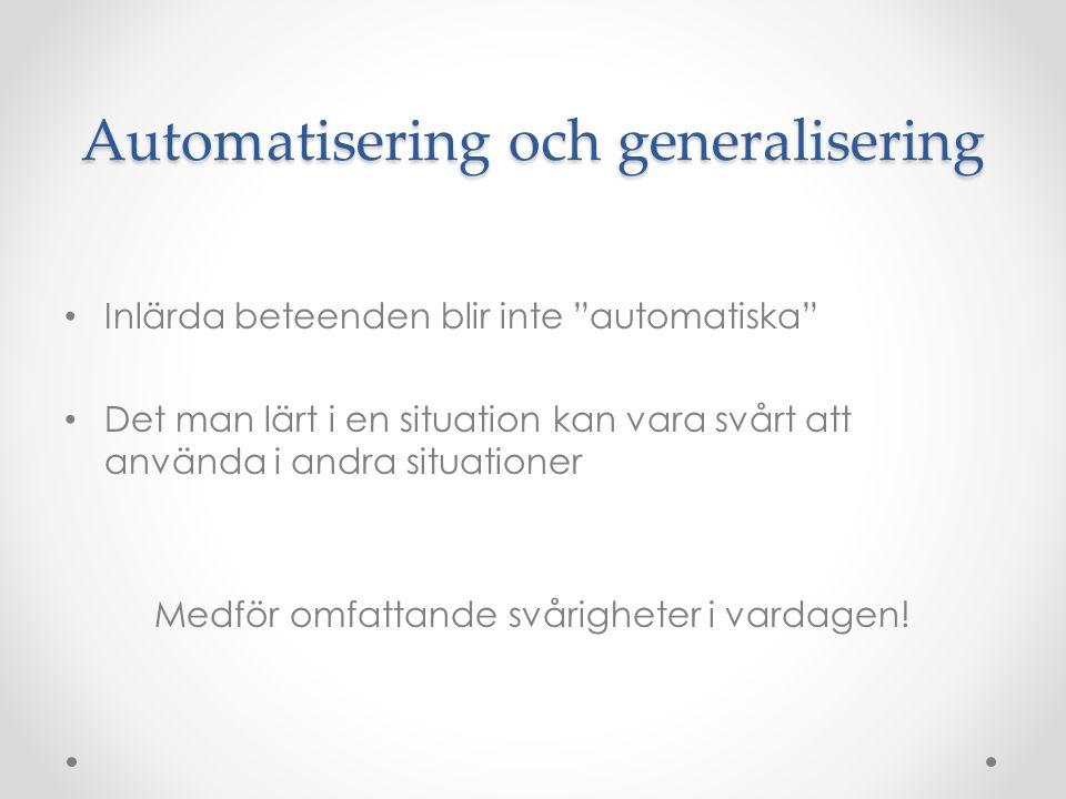Automatisering och generalisering