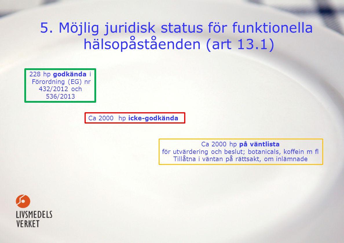5. Möjlig juridisk status för funktionella hälsopåståenden (art 13.1)