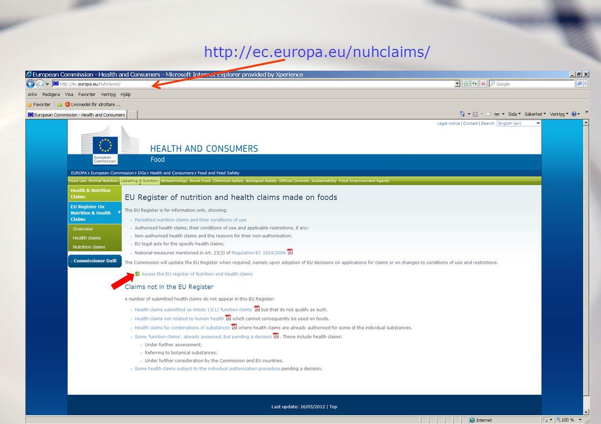 http://ec.europa.eu/nuhclaims/ Självstudiematerial kommande tre bilderna över hur man använder Kommissionens databas.