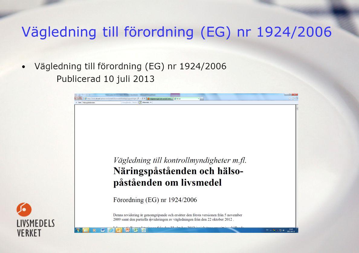 Vägledning till förordning (EG) nr 1924/2006