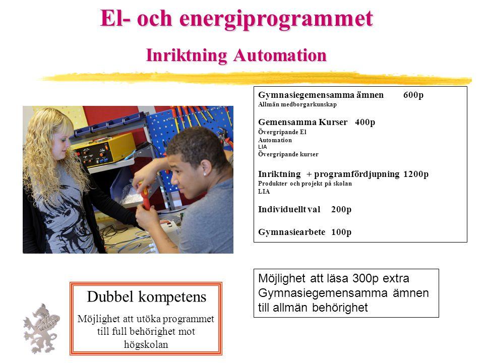 El- och energiprogrammet Inriktning Automation