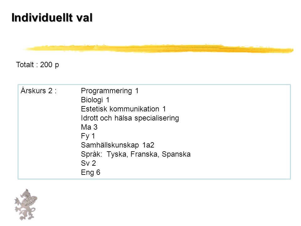 Individuellt val Totalt : 200 p Årskurs 2 : Programmering 1 Biologi 1