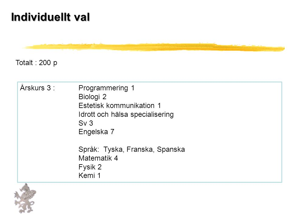 Individuellt val Totalt : 200 p Årskurs 3 : Programmering 1 Biologi 2