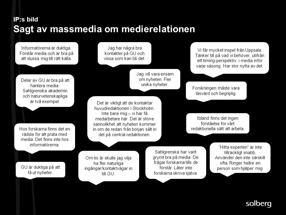 IP:s bild Sagt av massmedia om medierelationen