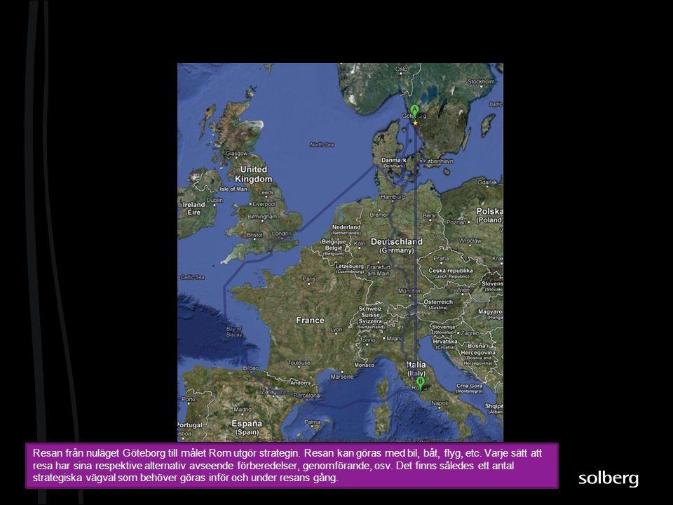 Resan från nuläget Göteborg till målet Rom utgör strategin