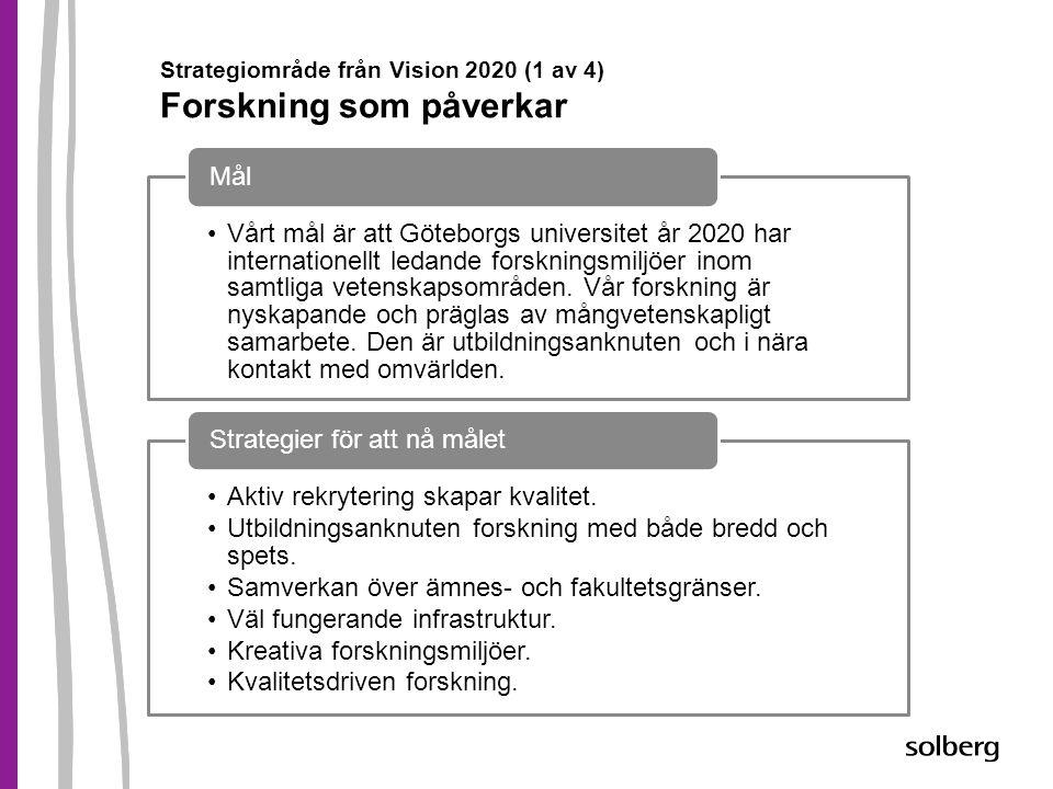Strategiområde från Vision 2020 (1 av 4) Forskning som påverkar