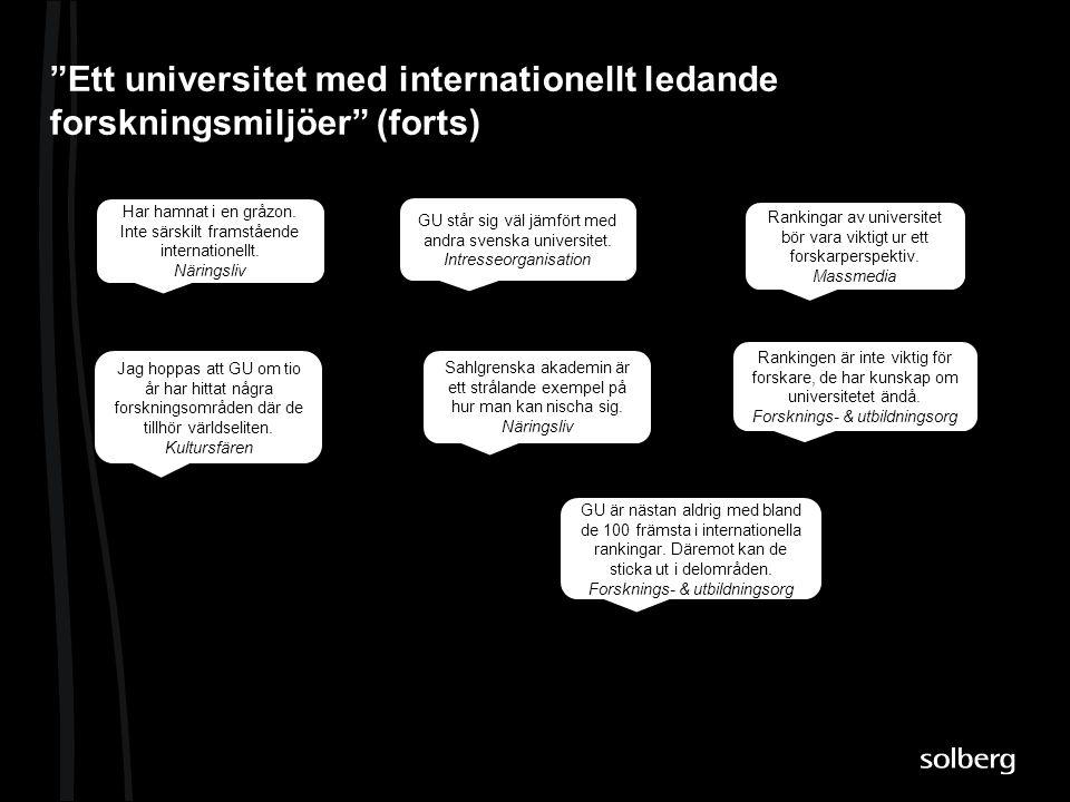 Ett universitet med internationellt ledande forskningsmiljöer (forts)