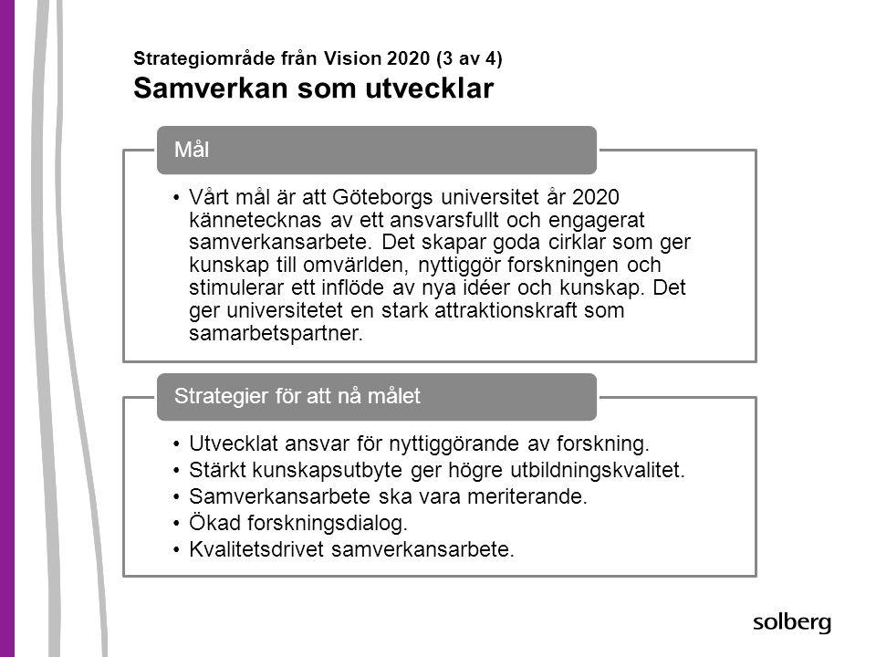 Strategiområde från Vision 2020 (3 av 4) Samverkan som utvecklar