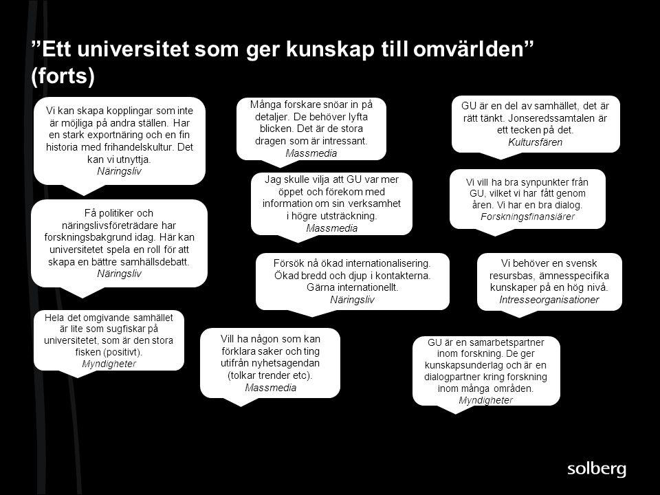 Ett universitet som ger kunskap till omvärlden (forts)