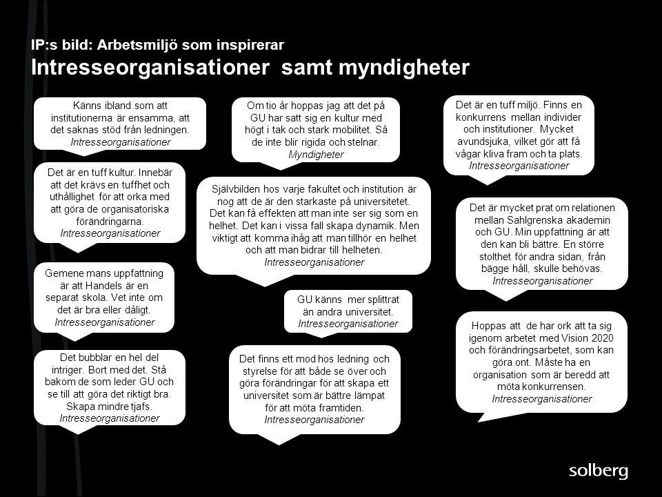 IP:s bild: Arbetsmiljö som inspirerar Intresseorganisationer samt myndigheter