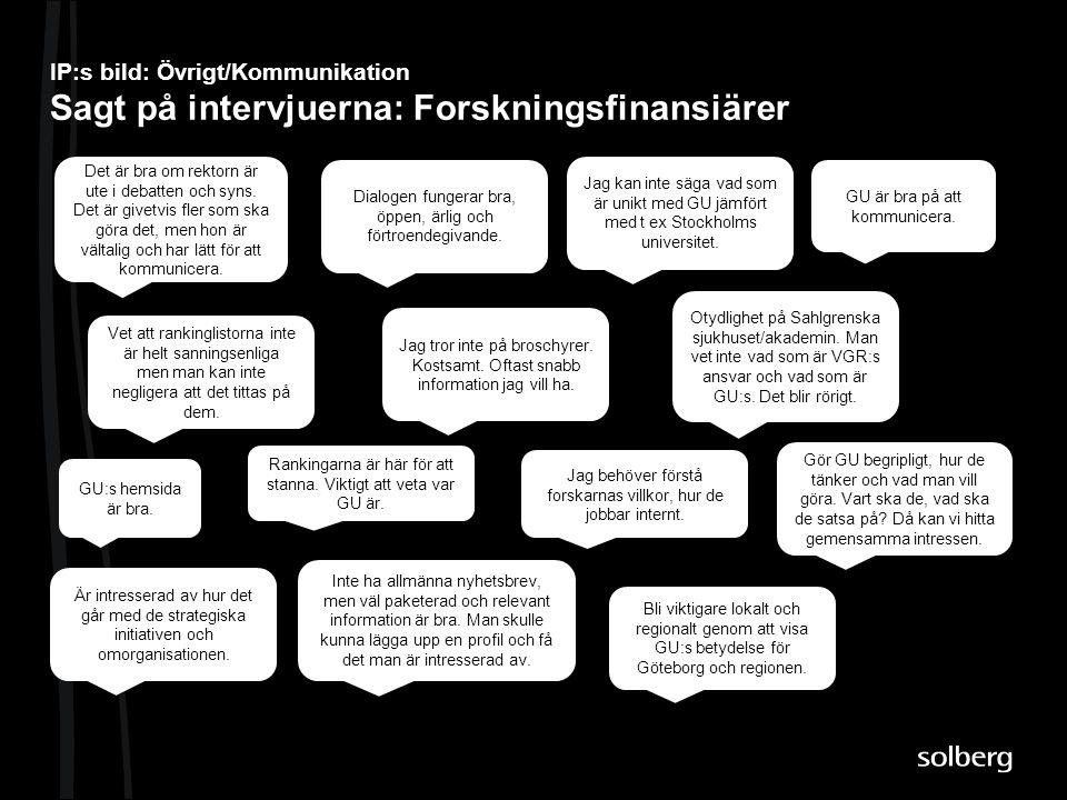 IP:s bild: Övrigt/Kommunikation Sagt på intervjuerna: Forskningsfinansiärer