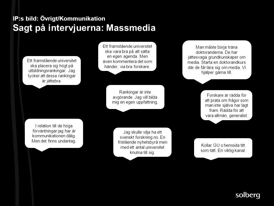 IP:s bild: Övrigt/Kommunikation Sagt på intervjuerna: Massmedia