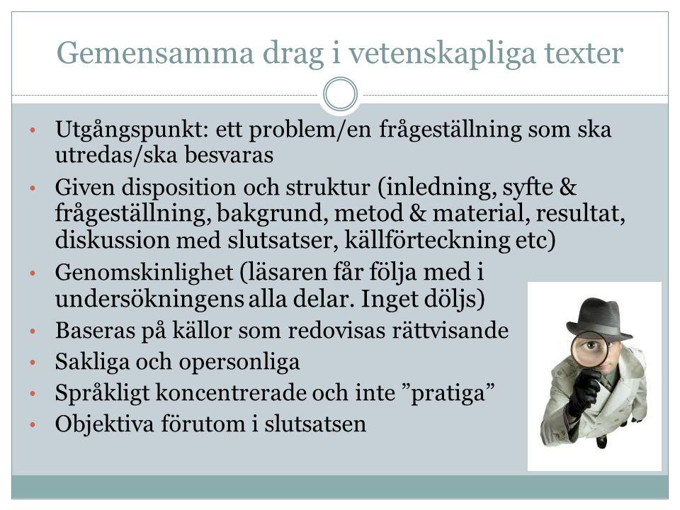 Gemensamma drag i vetenskapliga texter