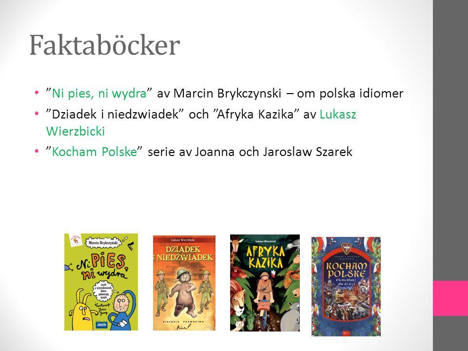 Faktaböcker Ni pies, ni wydra av Marcin Brykczynski – om polska idiomer. Dziadek i niedzwiadek och Afryka Kazika av Lukasz Wierzbicki.