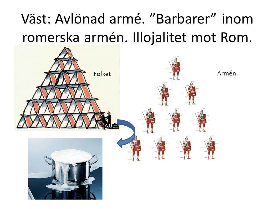 Väst: Avlönad armé. Barbarer inom romerska armén. Illojalitet mot Rom.