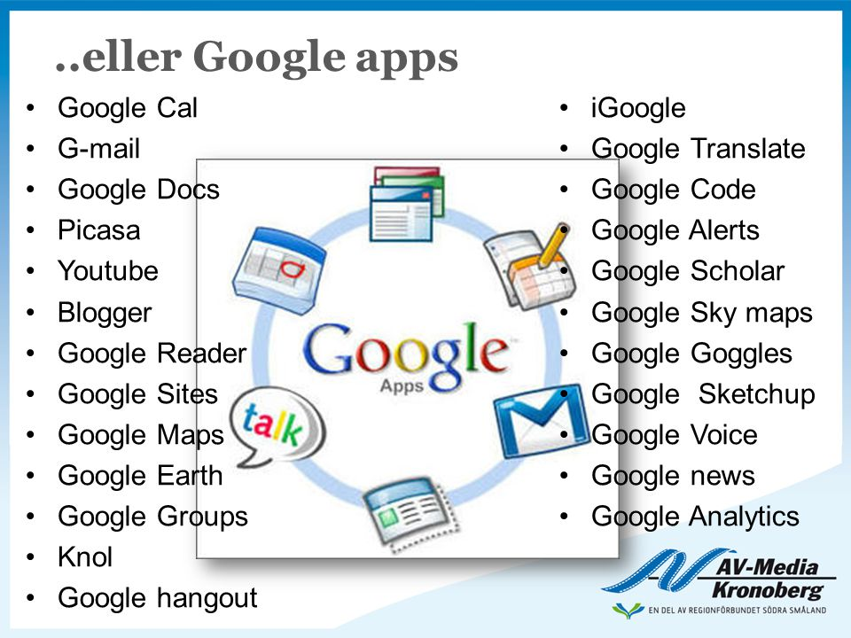 ..eller Google apps Google Cal iGoogle G-mail Google Translate