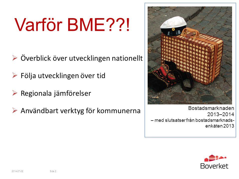 Varför BME ! Överblick över utvecklingen nationellt