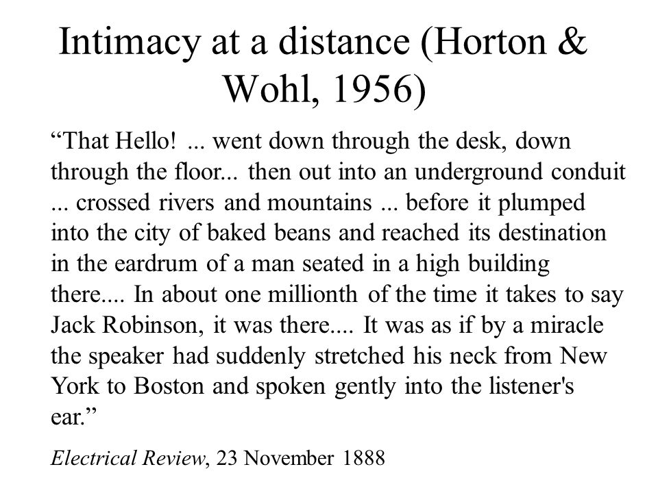 Intimacy at a distance (Horton & Wohl, 1956)