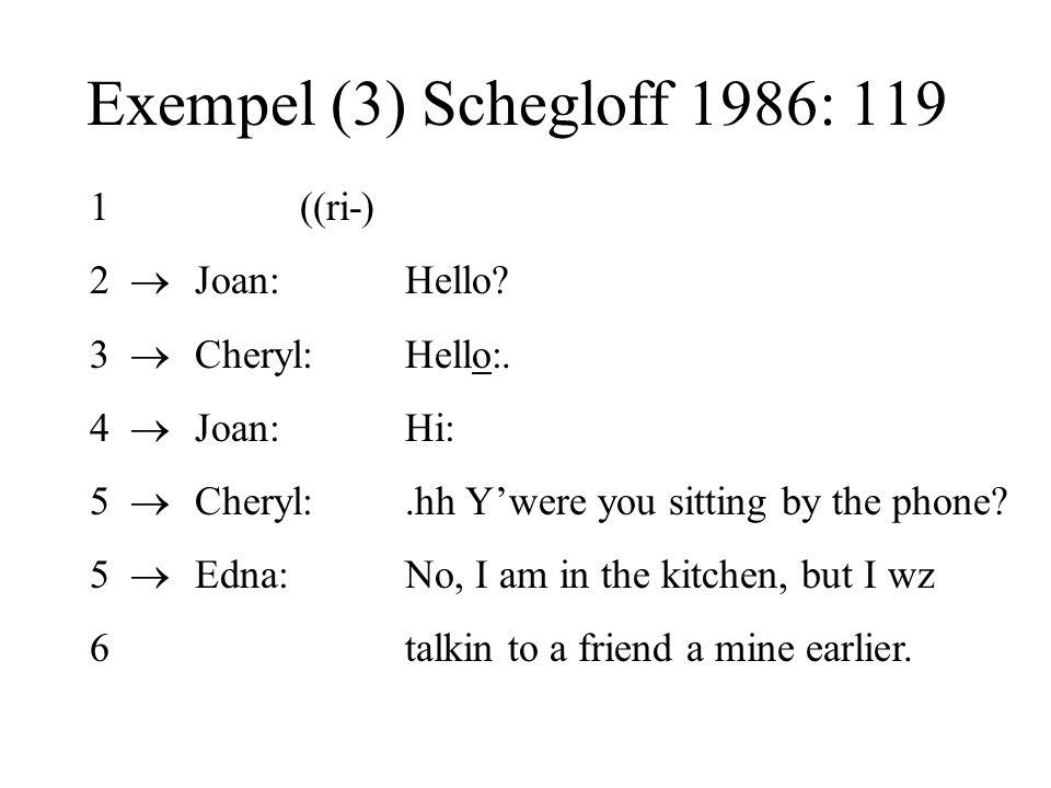 Exempel (3) Schegloff 1986: 119 1 ((ri-) 2  Joan: Hello