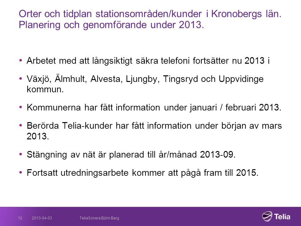 Orter och tidplan stationsområden/kunder i Kronobergs län