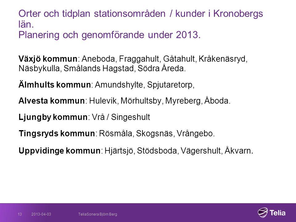 Orter och tidplan stationsområden / kunder i Kronobergs län