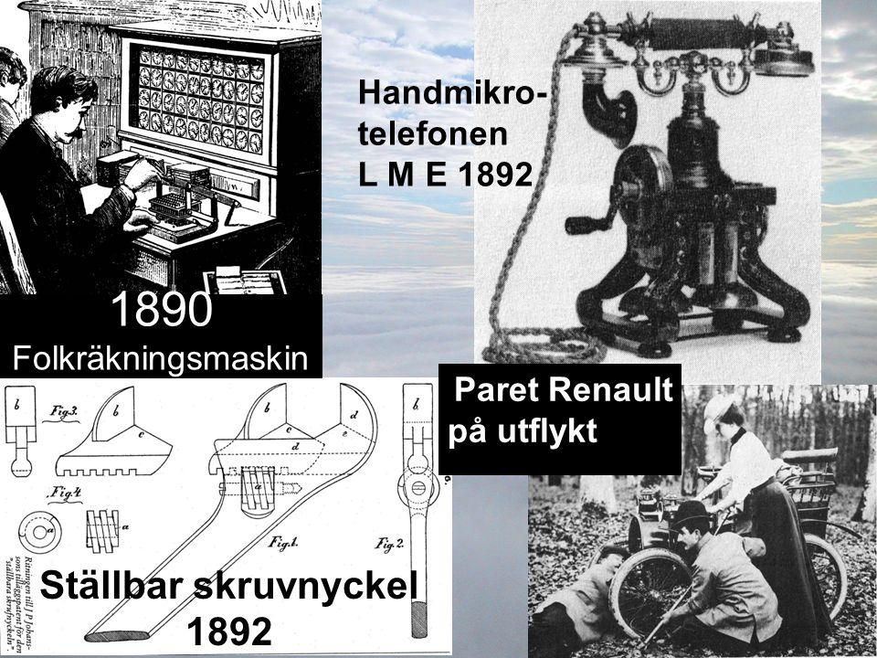 1890 Folkräkningsmaskin Ställbar skruvnyckel 1892 Handmikro-telefonen