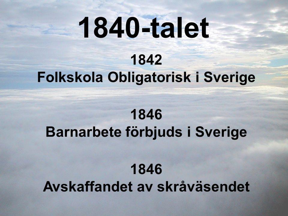 1840-talet 1842 Folkskola Obligatorisk i Sverige 1846