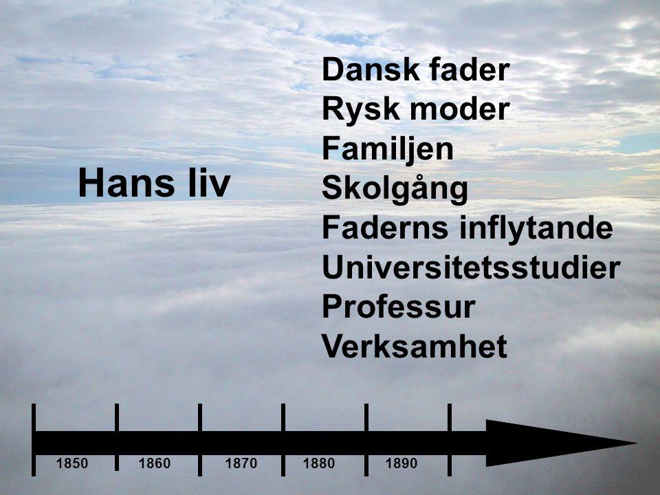 Hans liv Dansk fader Rysk moder Familjen Skolgång Faderns inflytande