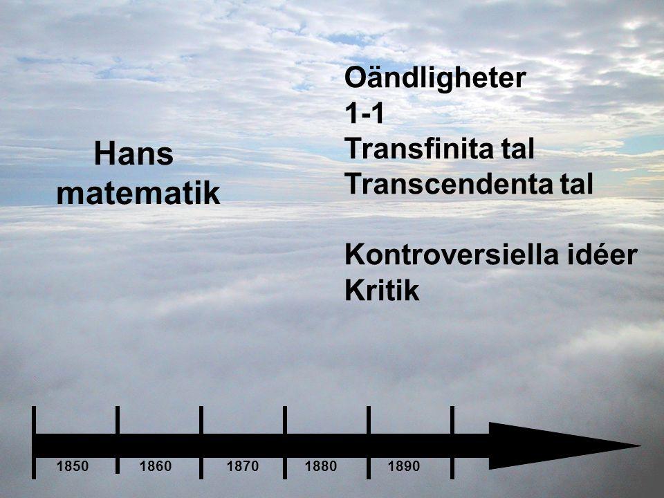 Hans matematik Oändligheter 1-1 Transfinita tal Transcendenta tal