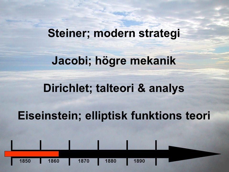 Steiner; modern strategi Jacobi; högre mekanik