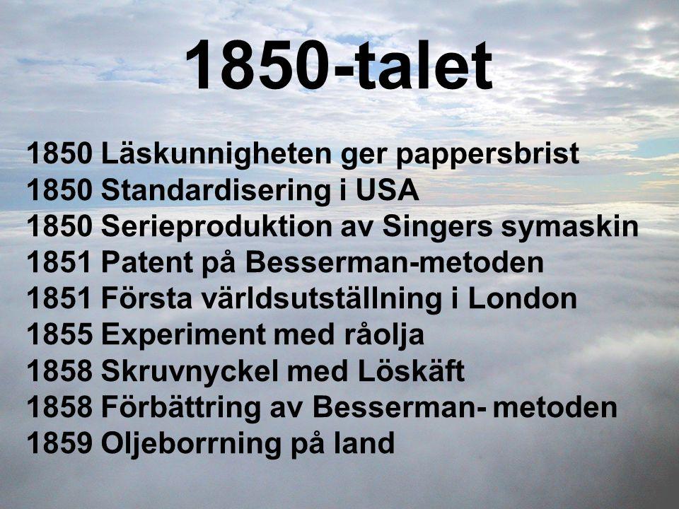 1850-talet 1850 Läskunnigheten ger pappersbrist