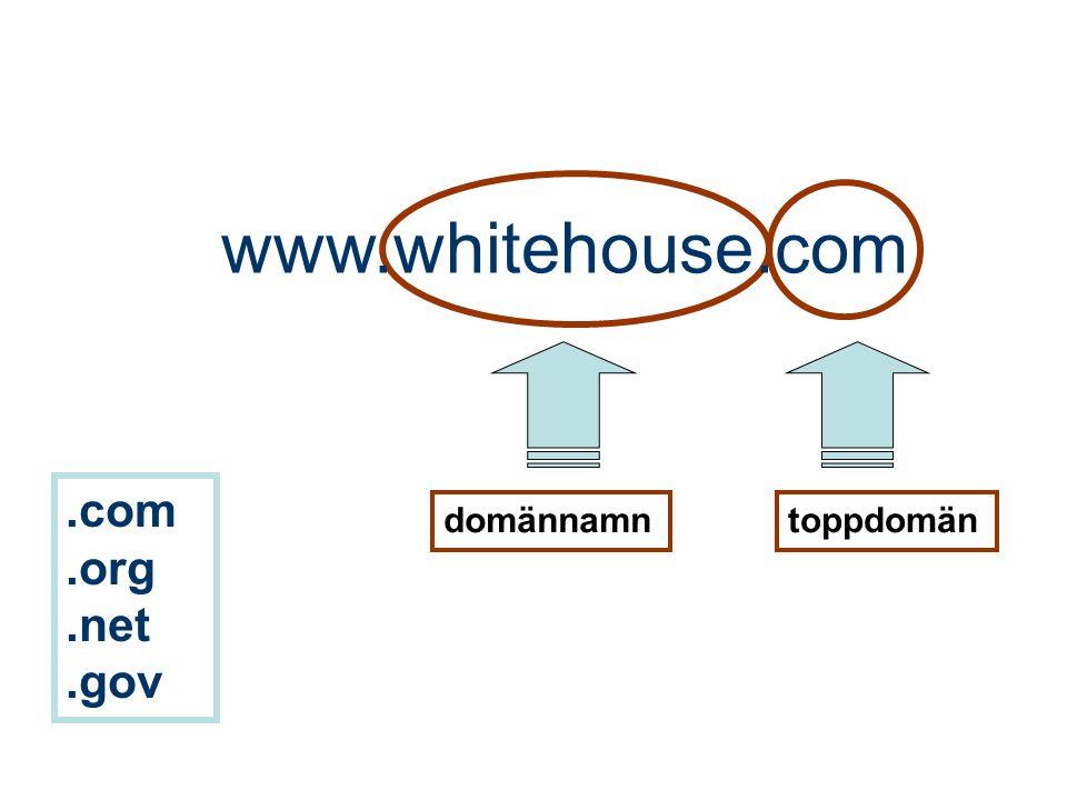 www.whitehouse.com .com .org .net .gov domännamn toppdomän