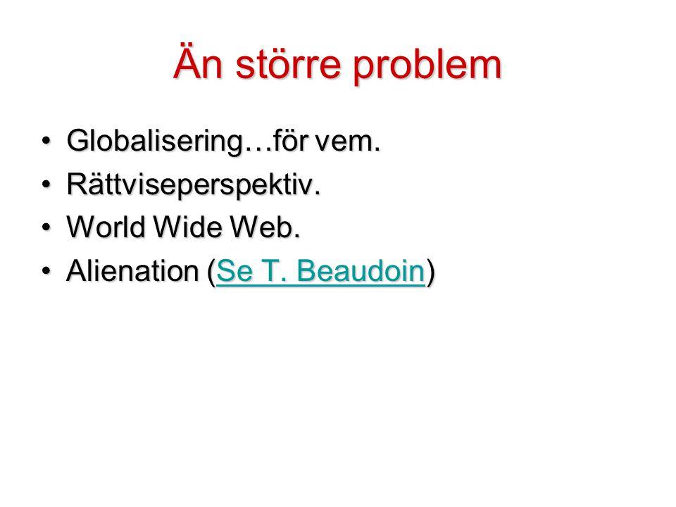 Än större problem Globalisering…för vem. Rättviseperspektiv.
