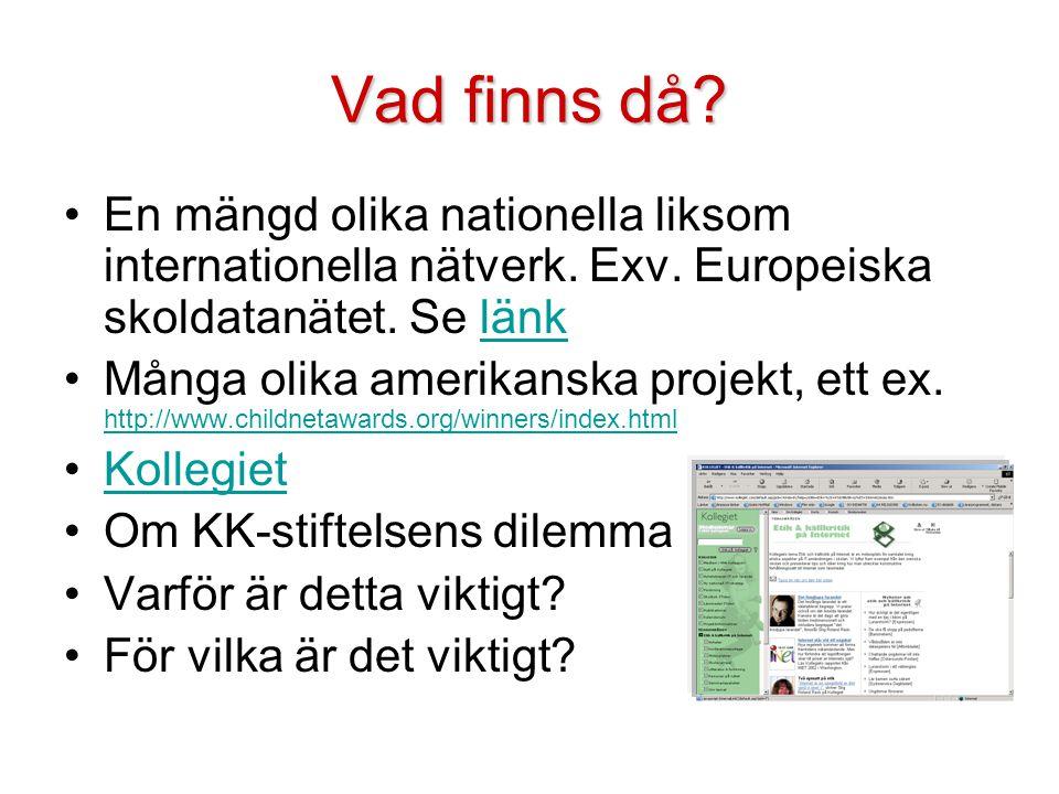 Vad finns då En mängd olika nationella liksom internationella nätverk. Exv. Europeiska skoldatanätet. Se länk.
