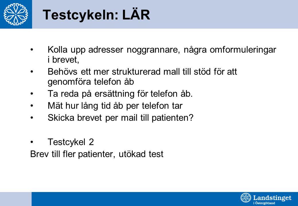 Testcykeln: LÄR Kolla upp adresser noggrannare, några omformuleringar i brevet,