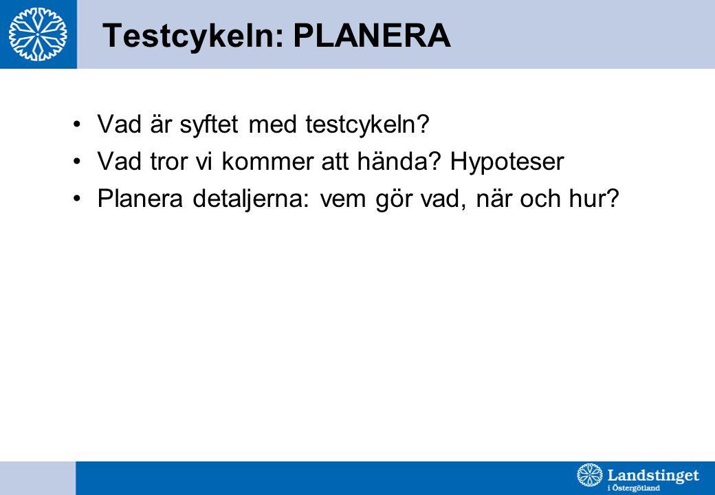 Testcykeln: PLANERA Vad är syftet med testcykeln