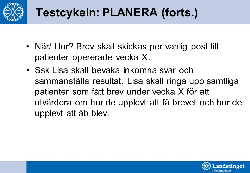 Testcykeln: PLANERA (forts.)