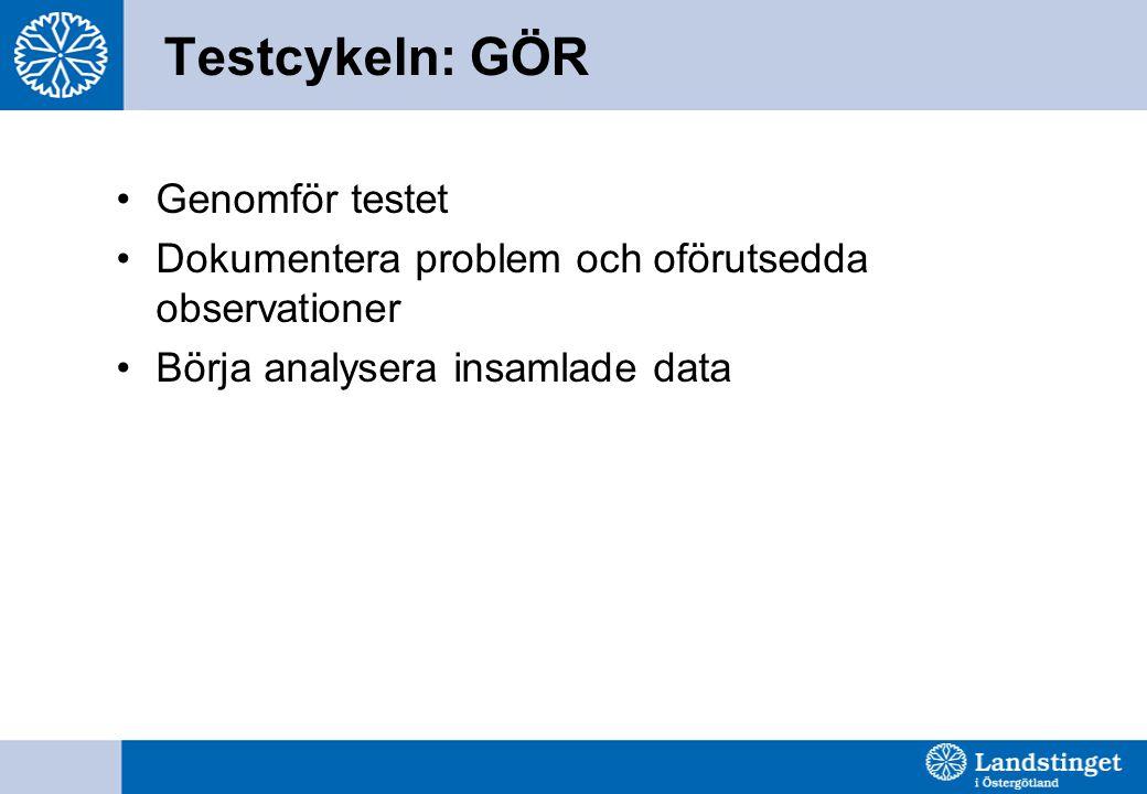 Testcykeln: GÖR Genomför testet