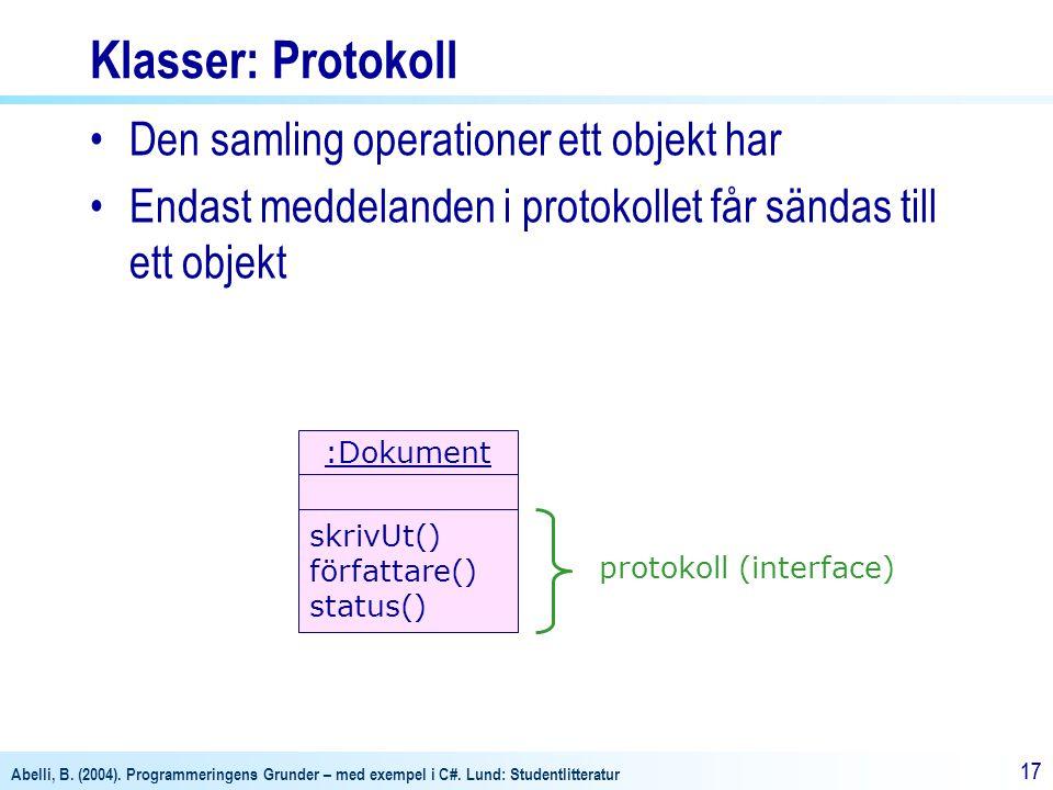 Klasser: Protokoll Den samling operationer ett objekt har