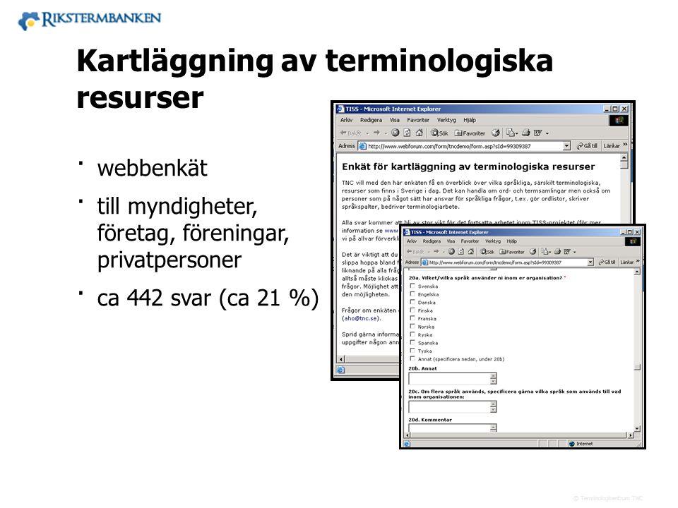 x.x Kartläggning av terminologiska resurser webbenkät
