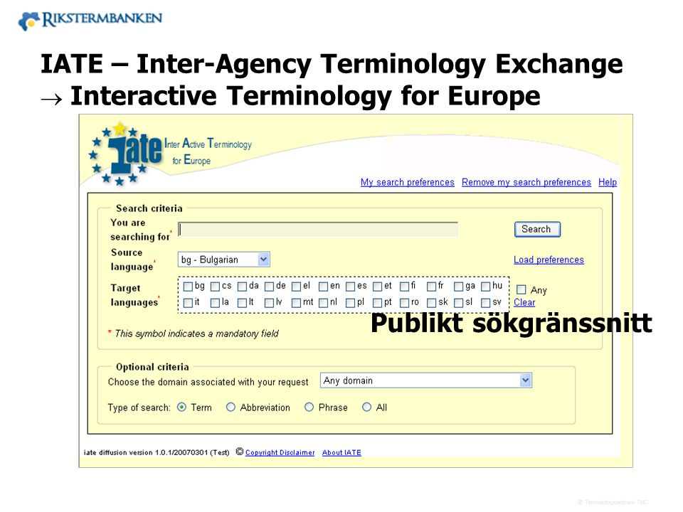 x.x IATE – Inter-Agency Terminology Exchange Publikt sökgränssnitt