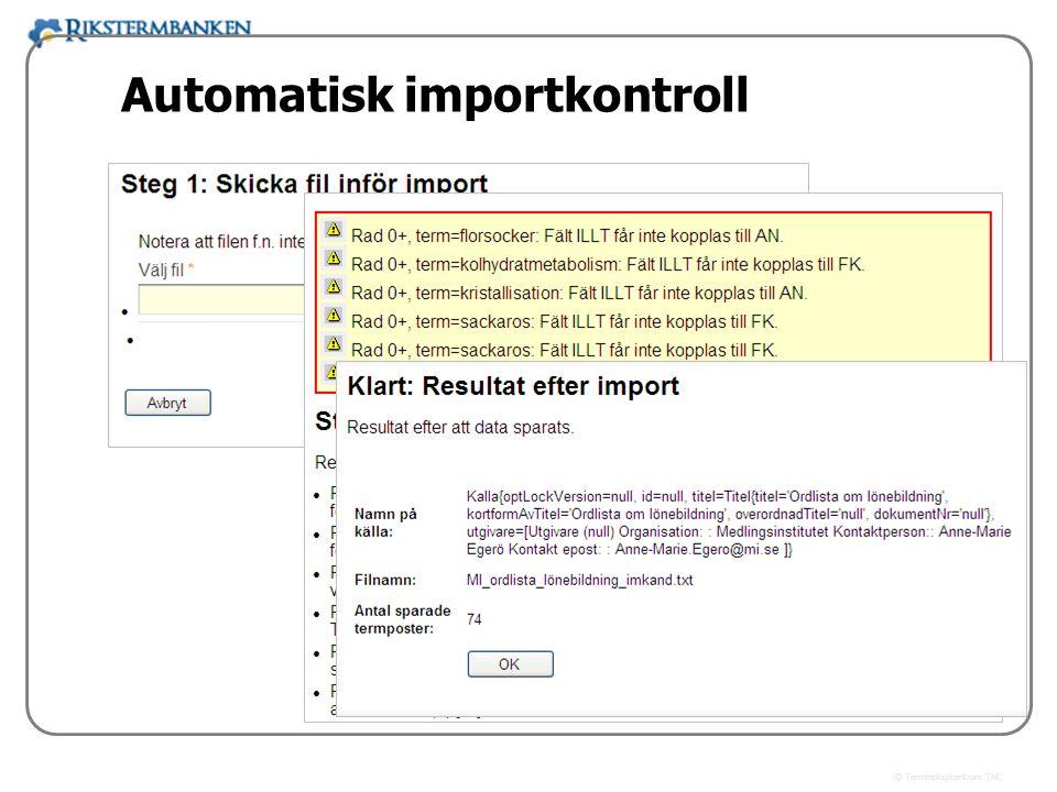 x.x Automatisk importkontroll
