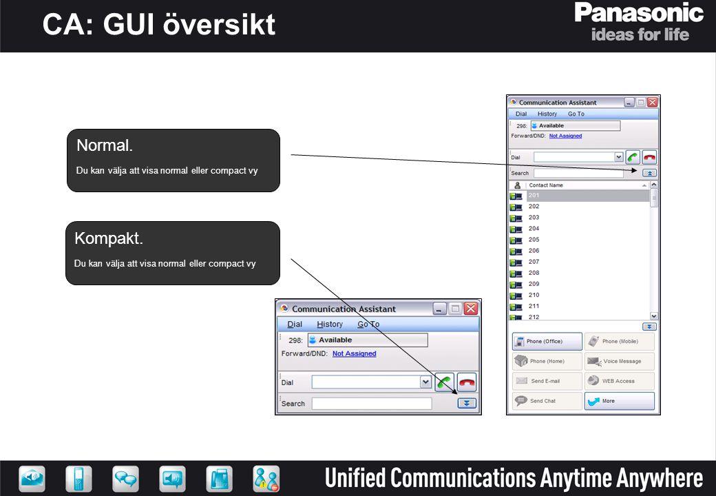 CA: GUI översikt Normal. Kompakt.