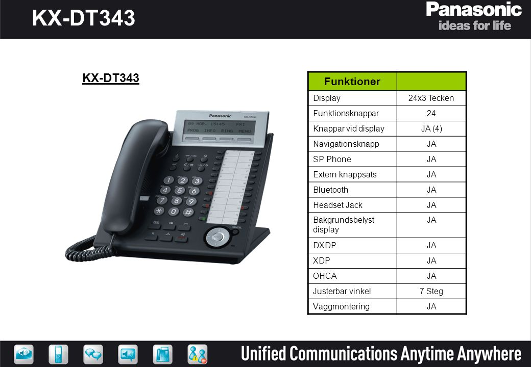 KX-DT343 KX-DT343 Funktioner Display 24x3 Tecken Funktionsknappar 24