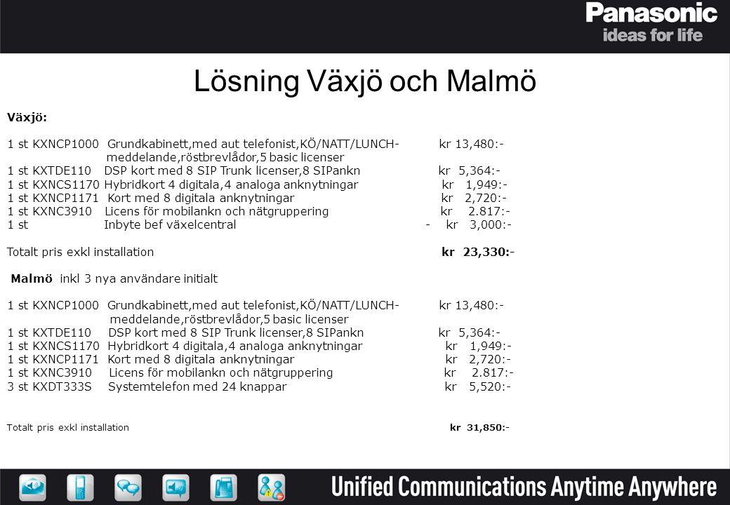 Lösning Växjö och Malmö