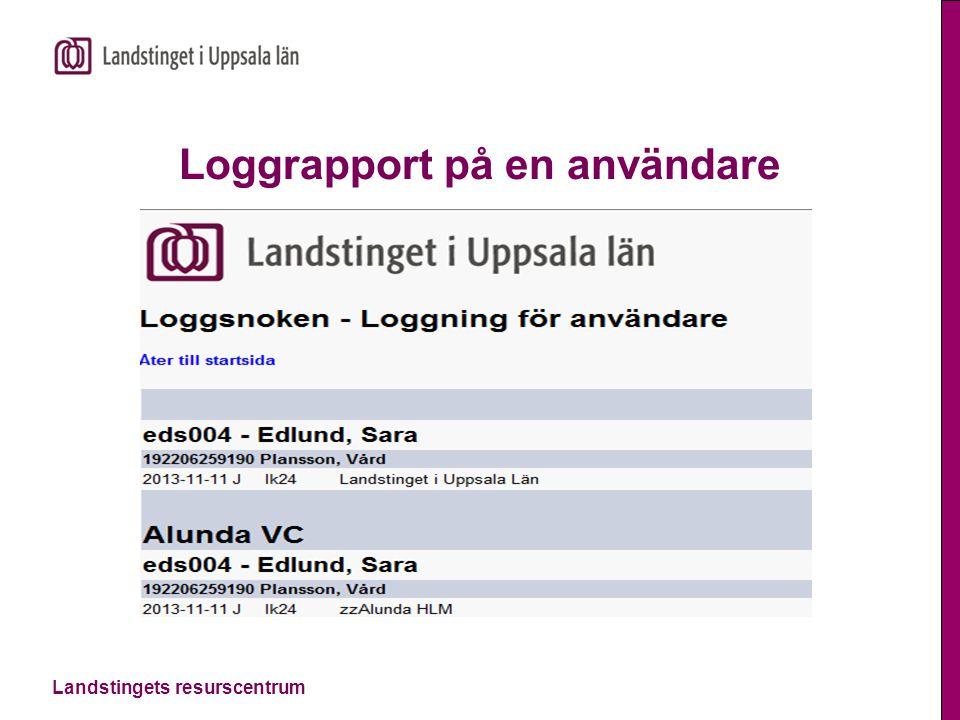Loggrapport på en användare
