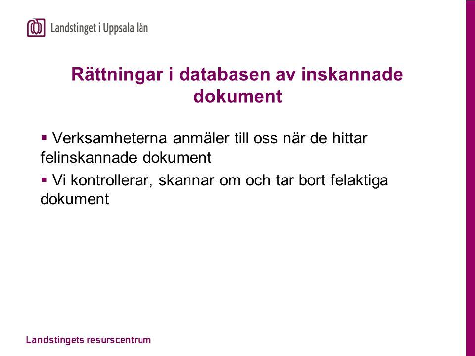 Rättningar i databasen av inskannade dokument