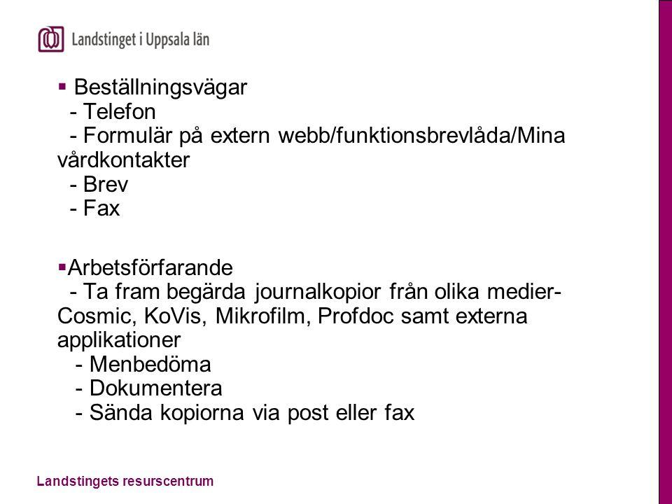 Beställningsvägar - Telefon - Formulär på extern webb/funktionsbrevlåda/Mina vårdkontakter - Brev - Fax